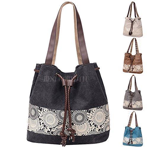 Bag Casual Women's Wocharm Handbag Fashion Canvas Design Bag Series Dual Cotton Messenger Hobo Beige Satchel Retro Style Bag use With Shoulder Girl Lady qfFqwaxS