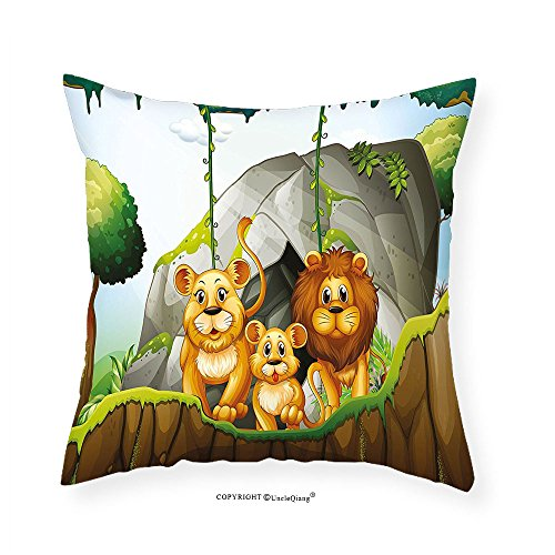 Vroselv Custom Cotton Linen Pillowcase Forest Lion Family In The Jungle Woods King Zoo Nursery Illustration For Bedroom Living Room Dorm Apricot Chocolate Hunter Green 24 X24