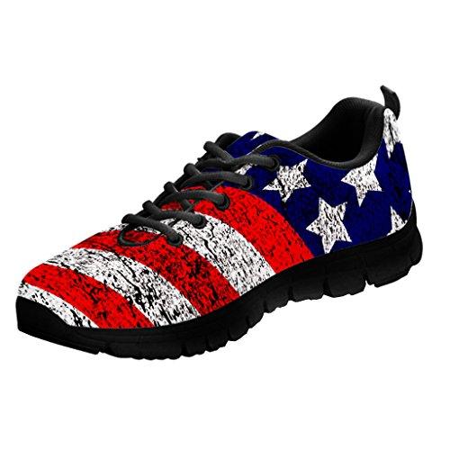 Printed Kicks USA Flag Sneakers American Pride Shoes for Men (US10 (EU44), Black Sole)