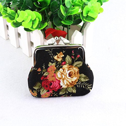 Vintage Retro Small Women Hasp Black Flower Purse Wallet SMTSMT qCRSwnPxZw