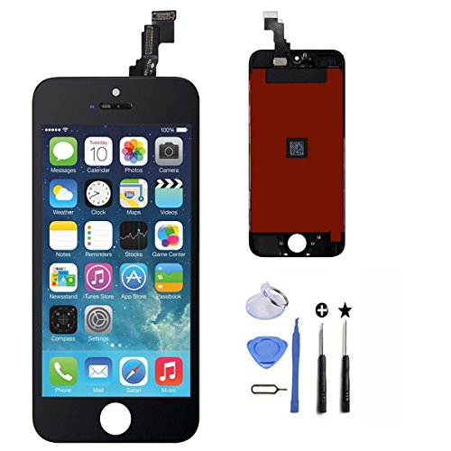 UHNT iPhone 5C(Black) LCD Display Digitizer Touch Screen Replacement Parts kit with Repair Tools,without home button,ear piece and front camera,just same as the pictures. (Only fit for iPhone 5C) from UHNT
