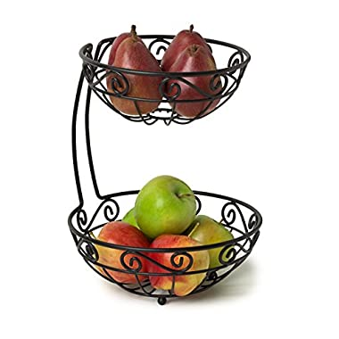 Spectrum Diversified 46810 Scroll Fruit Stand, Tiered Server, Fruit Baskets, 2 Tier, Black