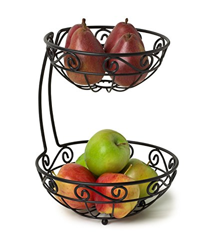 Basket Server - Spectrum Diversified Scroll Fruit Stand, Tiered Server, Fruit Baskets, 2 Tier, Black