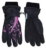 N'Ice Caps Girls Thinsulate Waterproof Glove with Flower Tattoo Print (10-12yrs, black/fuchsia)