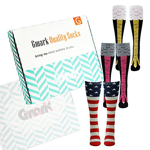 Christmas Gift, 3 Pairs Gmark Funny Casual Cotton Crew Socks Funky Patterned Knee High Socks