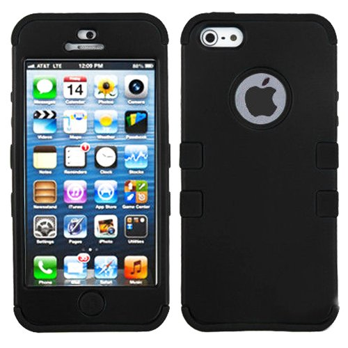 myLife Jet Black - Colorful Robot Series (Neo Hypergrip Flex Gel) 3 Piece Case for iPhone 5/5S (5G) 5th Generation Smartphone by Apple (External 2 Piece Fitted On Hard Rubberized Plates + Internal Soft Silicone Easy Grip Bumper Gel)