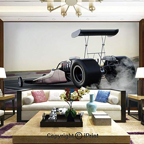 (Lionpapa_mural Removable Wall Mural | Self-Adhesive Large Wallpaper,Dragster Racing Down The Track with Burnout Competition Speed Sports Technology Decorative,Home Decor - 66x96 inches)