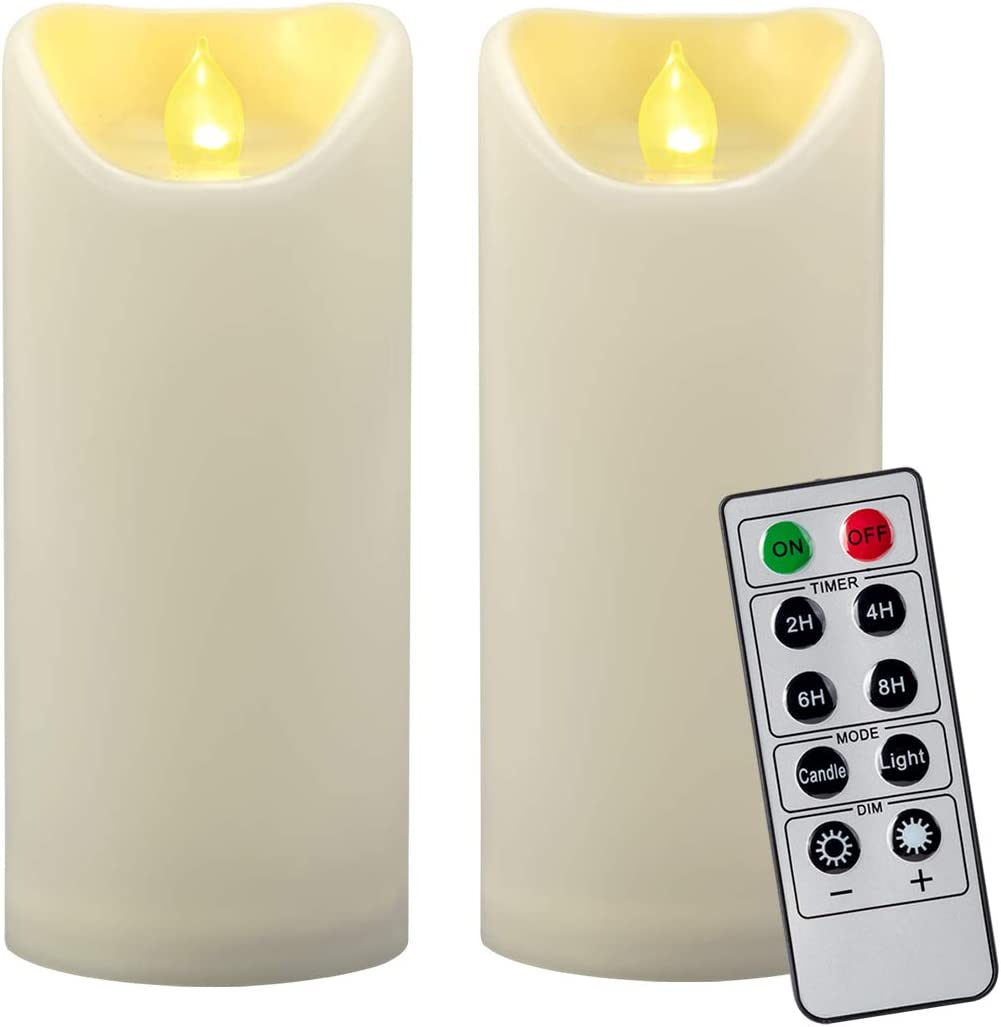 2PCS 7 Outdoor Waterproof Flameless LED Pillar Candles with Remote Timer Battery Operated Electric Flickering Plastic LED Fake Candle for Halloween Pumpkin Light Lantern Christmas Decorations Ivory