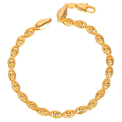 18k Stamp Gold Bracelet Bead-set Link Chain Bracelet For Men/Women - 18k Gold Bead