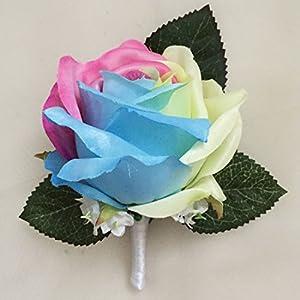 Lily Garden Silk Rainbow Rose Flowers Bouquet Boutuniere (Boutonniere C) 65