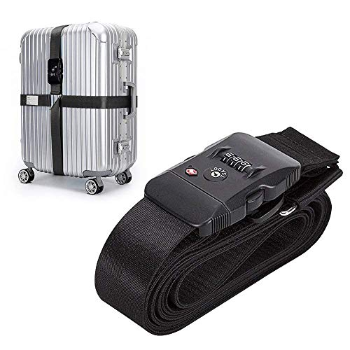 TSA Travel Luggage Strap with Approved Lock,Adjustable Suitcase Belt Black by...