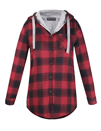 OMEYA.WANSHIDA.Womens Long Sleeve Button Up Plaid Flannel Hooded Jacket Shirt(M, Red) - Red Plaid Jacket