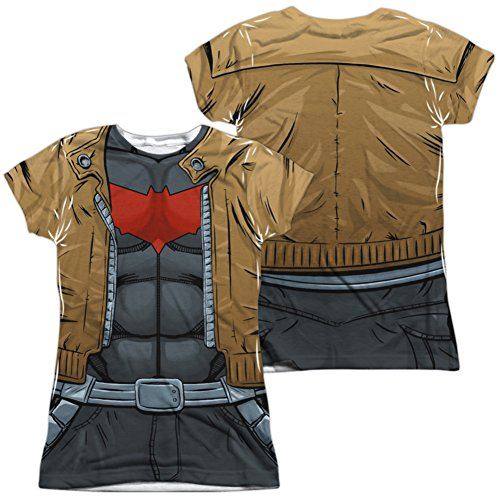 Juniors: Batman- Red Hood Uniform Costume Tee (Front/Back) Juniors (Slim) T-Shirt Size XL - New Batman Affleck Costume