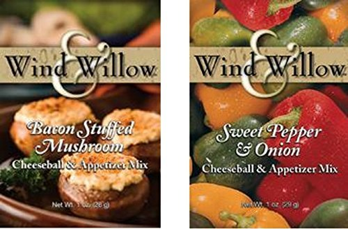 Wind & Willow All American Savory Cheeseball and Dip Mix Variety Pack (Bacon Stuffed Mushroom / Sweet Pepper and Onion) by Wind & Willow