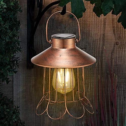 Solar Lantern Outdoor Hanging Lights Decor Led Waterproof Metal Landscape Table Lantern for Patio Garden Porch Backyard Bronze