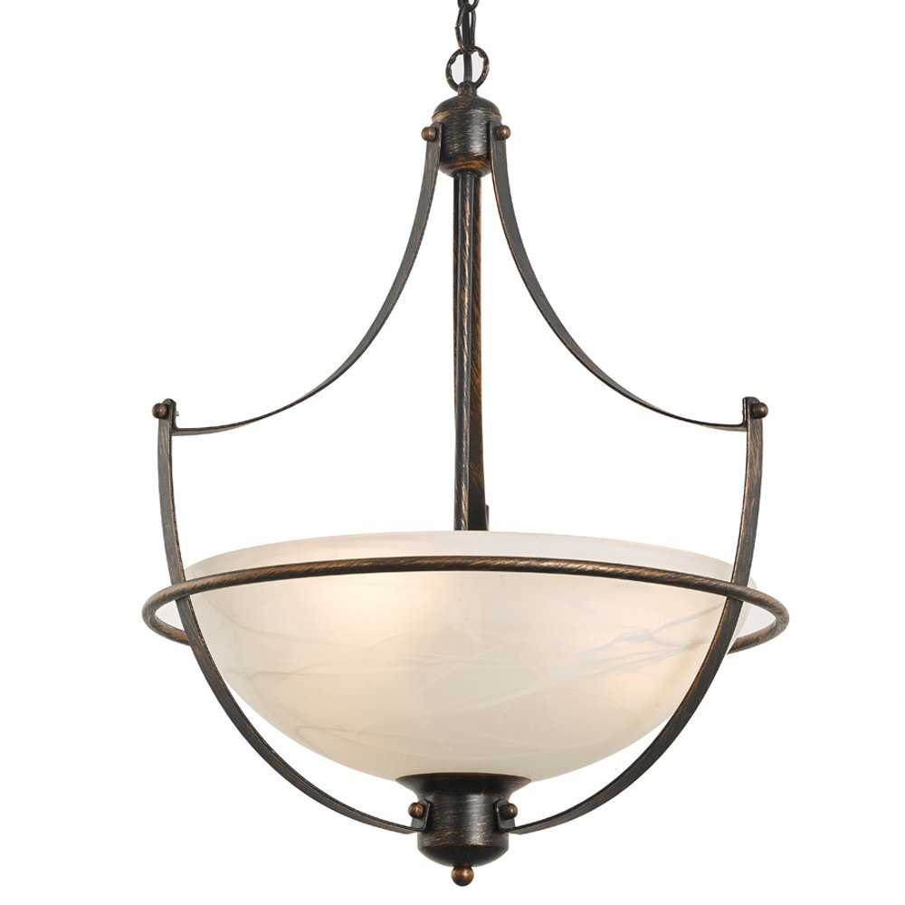 "SPARKSOR 4-Light 17"" Torino Inverted Bowl Pendant Light, Chandeliers Indoor Flush Mount Pendant Lighting Fixture, Oil Rubbed Bronze Finish with Frosted Glass"
