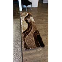 Brown with Beige Shag Runner On Sale! Shaggy Viscose Design Collection Size 2 x 75 ft.