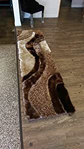 ~2ft' x 8ft' Runner Brown with Beige Shaggy Area Rug On Sale! Shaggy Viscose Design Collection.