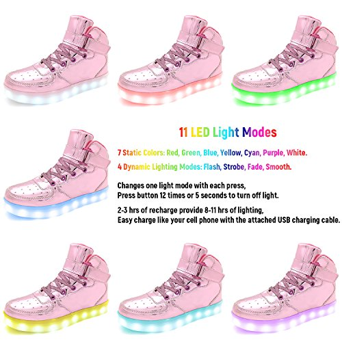 Pictures of APTESOL Flashing Rechargeable Fashion LED Sneakers Youth Kids Toddler Cute Shoes for Halloween Xmas School Party Birthday Best Gift (Pink Little Kid Size 11) 7