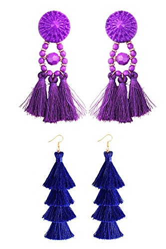 Q&S Jewels Fashion Tassel Earrings Handmade Bohemian Statement Chandelier Vintage Purple Tassel Earrings Stud and Royal Blue Tiered Thread Tassel Drop Dangle Earring 2 Pairs