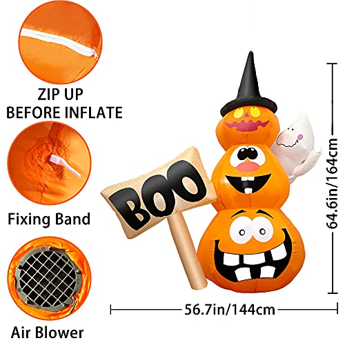 6FT Inflatable Halloween Decorations Blow Up Stacked Pumpkins with Witches Hat and Hammer, LED Lights Built-in, Halloween Inflatables Yard Decorations for Outdoor Party Garden Lawn Decor