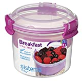 yogurt and granola container - Sistema To Go Collection Breakfast Bowl Food Storage Container, 17.9 Ounce/2.2 Cup, Clear with Assorted Color Accents