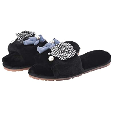 8c2ce21203f1ce Women s Plaid Camellia Fur Home Slippers Cute Bear Flip Flops Fashion Pearl  Sandals Ladies Winter Shoes