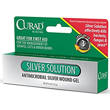 Curad Silver Solution Antimicrobial Gel,  .5 oz, (Pack of 2)