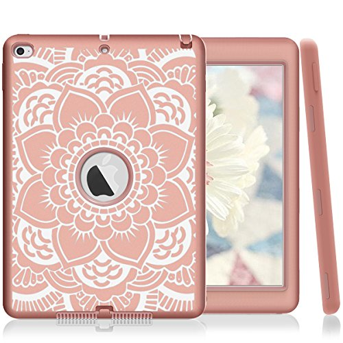 iPad Air 2 Case, PIXIU Heavy Duty Shockproof Protective case Without Screen Protector Rugged Three-Layer Defender Cover for iPad Air 2 A1566 A1567 2014 Released Mandala Floral/Rose Gold