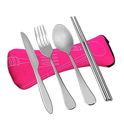 Wayber 4 Pcs Portable Stainless Steel Camping Flatware Set (Knife Fork Spoon Chopsticks) with Lightweight Soft Neoprene Case, Eco-Friendly Ideal for Traveling/Party/Business Trip/Office (Pink)