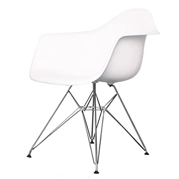 Awe Inspiring Charles Eames Style Eiffel Cool White Plastic Retro Armchair Pabps2019 Chair Design Images Pabps2019Com