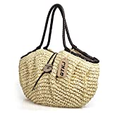 Pillow Shape Straw Tote Bag Handbag, Women Woven Summer Large Capacity Beach Straw bag
