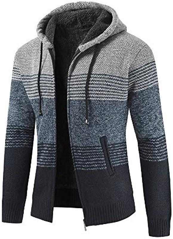 KPILP Kurtka z dzianiny męska sweter bluzka w paski, wiatroszczelna gruby zamek błyskawiczny, ciepła bluza z kapturem, na zimę, jesień: Odzież