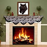 decorating fireplace mantels Halloween Decoration Fireplace Mantel Scarf Cobweb Fireplace Cover Mysterious Halloween Party Decoration Black Spider web Lace Runner for Holiday Party Supplies, 96 x 18 inch