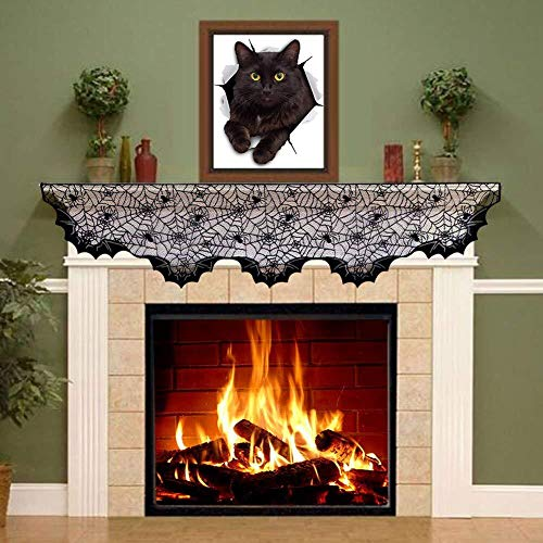 Halloween Fireplace Mantel Scarf Cobweb Fireplace Cover Mysterious Halloween Party Decoration Black Spider web Lace Runner for Holiday Party Supplies, 96 x 18 inch ()