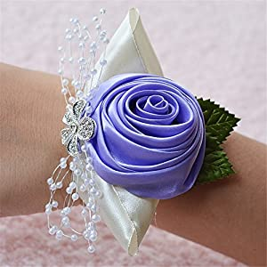 Florashop Wedding Bridal Corsage Bridesmaid Wrist Flower Corsage Flowers for Wedding Prom Party Lavender Pack of 4 50
