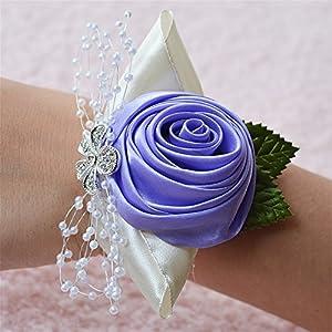 Jackcsale Wedding Bridal Corsage Bridesmaid Wrist Flower Corsage Flowers for Wedding Light Purple Pack of 4 14