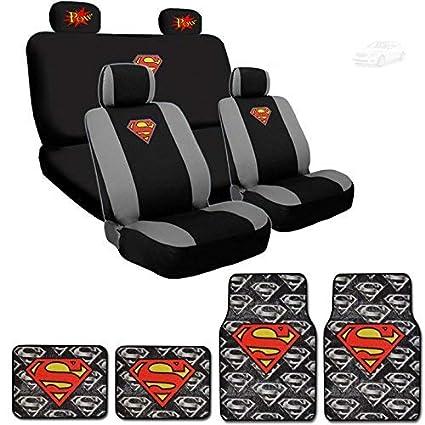 Yupbizauto Ultimate Superman Car Seat Covers Carpet Floor Mats Set Bundled With Classic POW Logo Headrest