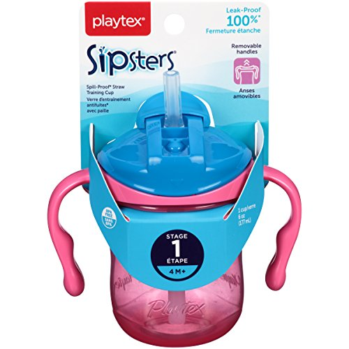 Playtex Sipsters Stage 1 Spill-Proof, Leak-Proof, Break-Proof Straw Sippy Cups - 6 Ounce - 1 Count (Color May Vary) (Playtex Straw Bottle)