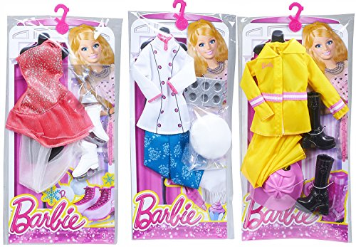 Barbie Careers Fashion Clothing Sets, Includes Firefighter, Pastry Chef, Ice Skater (Homemade Firefighter Costume)