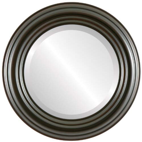 Round Beveled Wall Mirror for Home Decor - Regalia Style - Black Walnut - 37x37 outside dimensions