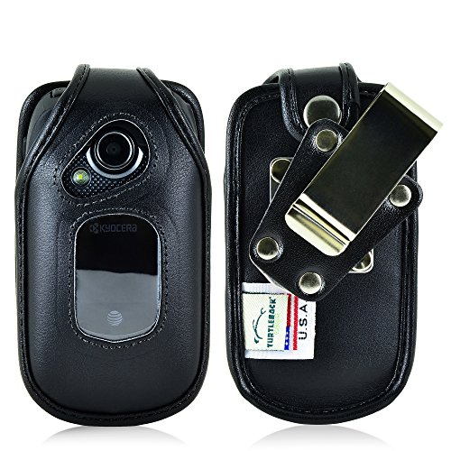 Turtleback Fitted Case Compatible with Kyocera DuraXE Flip Phone Holster Black Leather Rotating Heavy Duty Removable Metal Belt Clip Made in USA ()