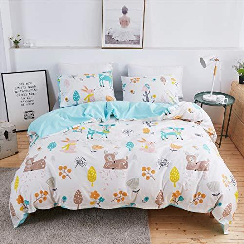 Lotus Karen Young Deer Duvet Cover Set for Kids - 100% Cotton Full Size Animal Flower Fruit Leaves 3-Piece Kids Cartoon Bedding Set(1Duvet Cover/2Pillowcases) - Reversible Plant Flower Bedding