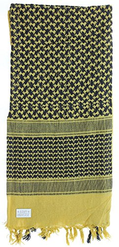 (Premium Heavyweight Shemagh Scarf with ARMY UNIVERSE Pin - Desert Sand & Black)