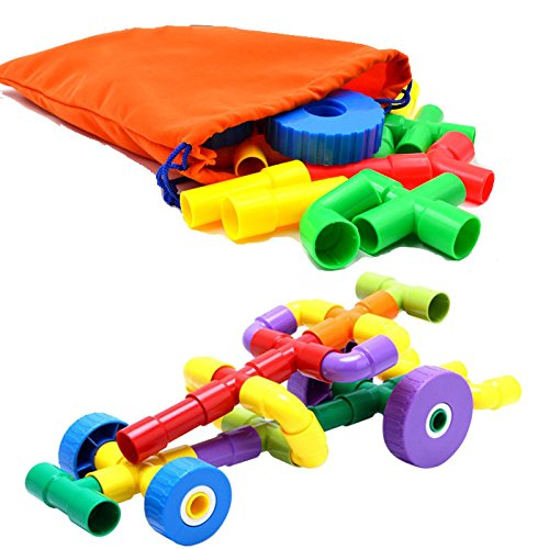 43PCS Pipe & Joint Construction Building Blocks Interlocking Set - Montessori Games Toys , with Wheels, with Storage Ba