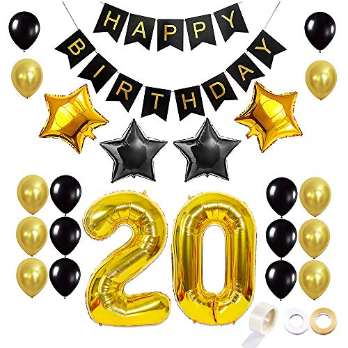 Juland Gold and Black 20 Birthday Balloons Set Party Supplies Decoration Kit Happy Birthday Banner Latex Balloon Decoration Foil Star Balloons Gold Number 20 Balloons