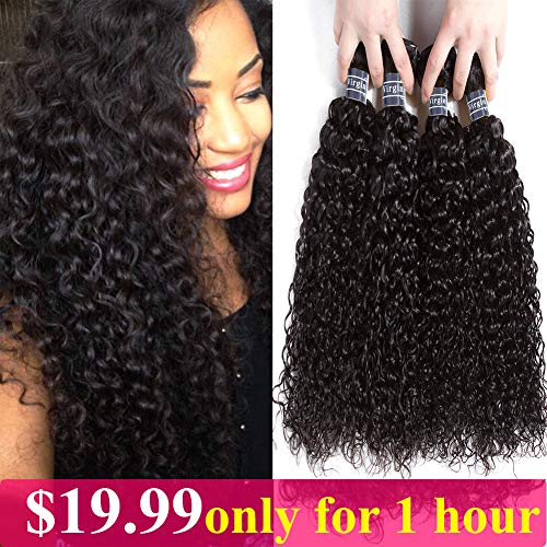 Amella Hair 100% Unprocessed Brazilian Curly Virgin Hair 4 Bundles 8A Brazilian Kinky Curly Virgin Hair Human Hair Extensions Natural Color(16 18 20 22) ()
