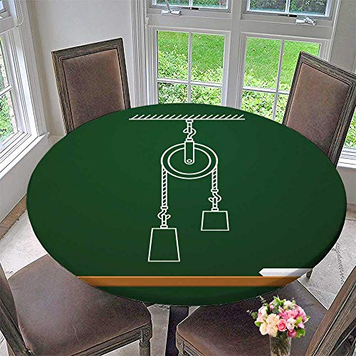 PINAFORE HOME Modern Table Cloth Loaded Movable Pulleys with SPR and Rope Physics Draw on Board School Vector Indoor or Outdoor Parties 47.5