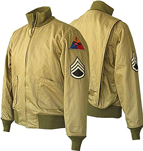 - Fury Brad Pitt US Army Tanker WW2 Military Style Bomber Men's Cotton Jacket Khaki (X-Large)