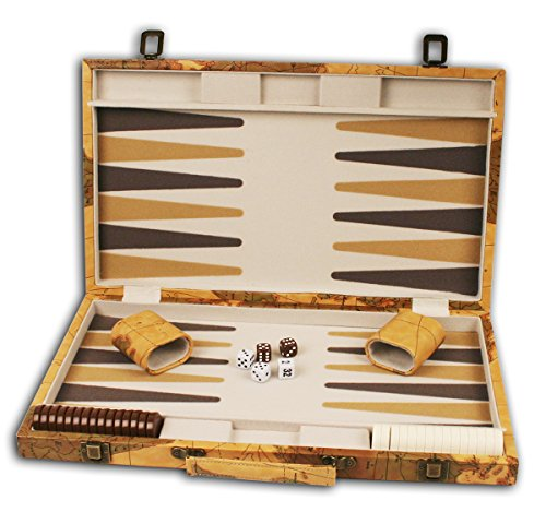 Design Backgammon Set (18 inch Leatherette Backgammon set with Beautiful Old World Map Design)